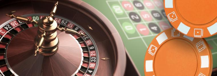 online casino, roulette wheel, casino chips and table